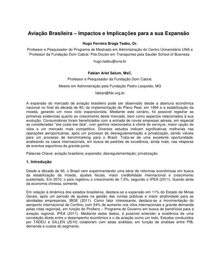 Aviação Brasileira – Impactos e Implicações para a sua Expansão                                 Hugo Ferreira Braga Tadeu,...