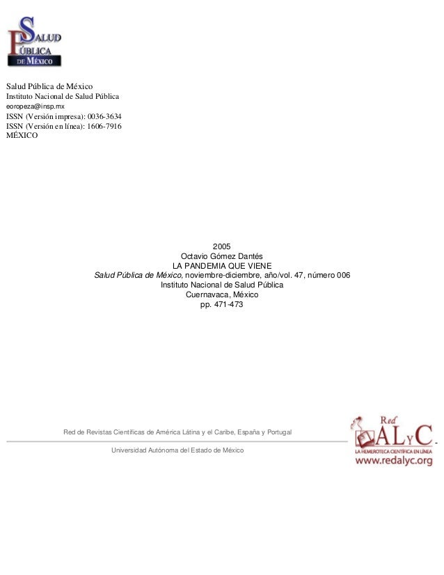 Salud Pública de México Instituto Nacional de Salud Pública eoropeza@insp.mx ISSN (Versión impresa): 0036-3634 ISSN (Versi...