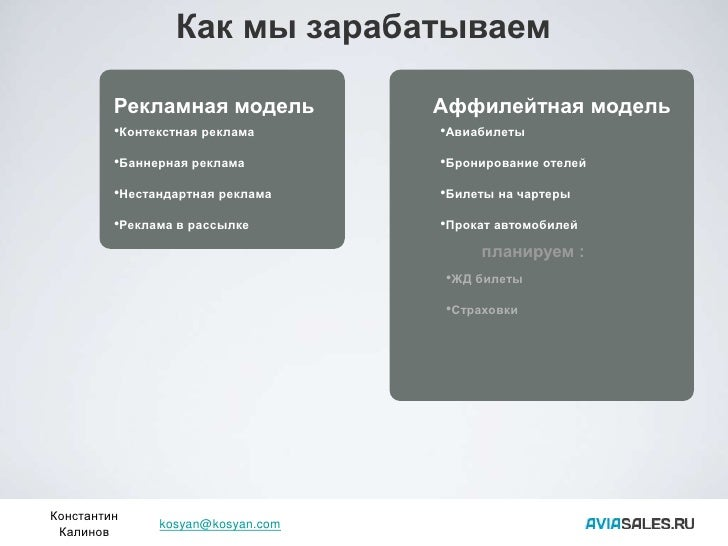 Как мы зарабатываем           Рекламная модель          Аффилейтная модель          •Контекстная реклама      •Авиабилеты ...