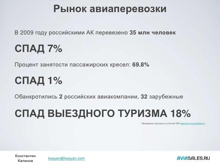 Рынок авиаперевозки  В 2009 году российскими АК перевезено 35 млн человек  СПАД 7% Процент занятости пассажирских кресел: ...