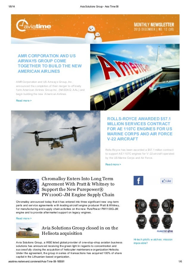 1/8/14  Avia Solutions Group - Avia Time 58  AMR CORPORATION AND US AIRWAYS GROUP COME TOGETHER TO BUILD THE NEW AMERICAN ...