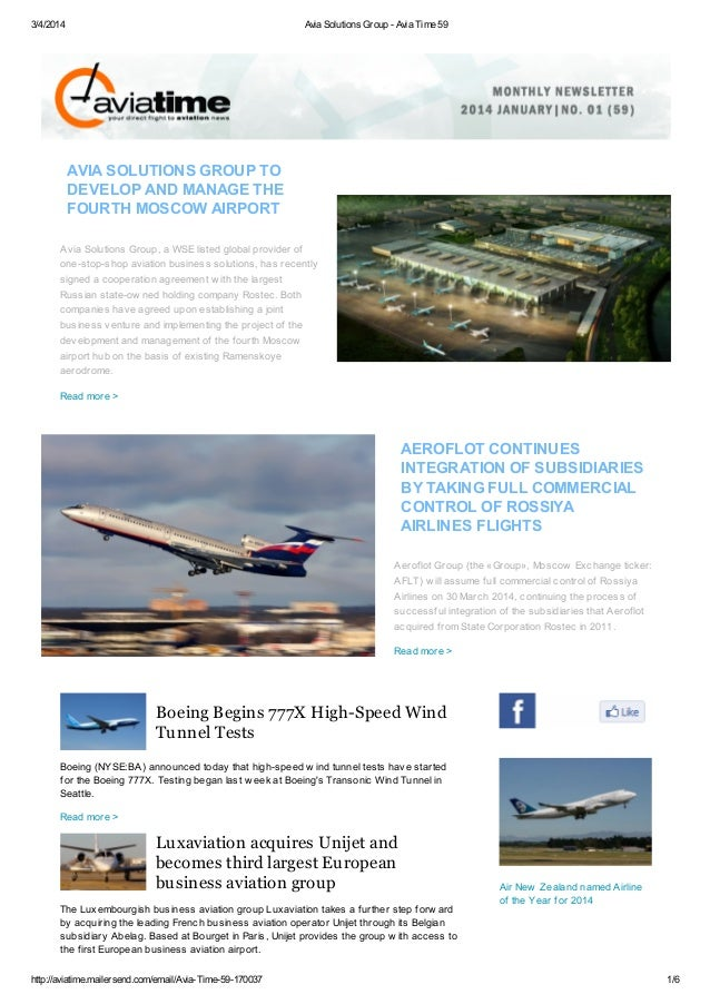 3/4/2014  Avia Solutions Group - Avia Time 59  AVIA SOLUTIONS GROUP TO DEVELOP AND MANAGE THE FOURTH MOSCOW AIRPORT Avia S...