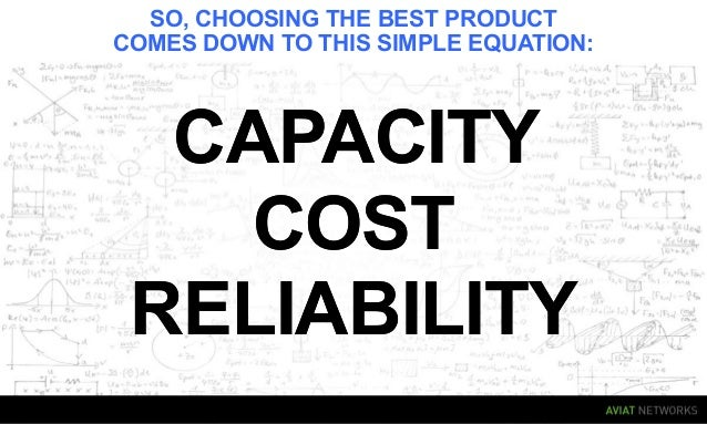 SO, CHOOSING THE BEST PRODUCT COMES DOWN TO THIS SIMPLE EQUATION: CAPACITYCAPACITY RELIABILITYRELIABILITY COSTCOST
