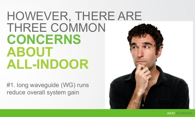 HOWEVER, THERE ARE THREE COMMON CONCERNS ABOUT ALL-INDOOR #1. long waveguide (WG) runs reduce overall system gain