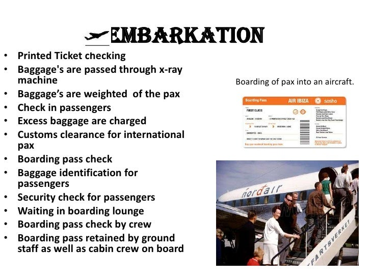 Embarkation• Printed Ticket checking• Baggages are passed through x-ray  machine                                Boarding o...