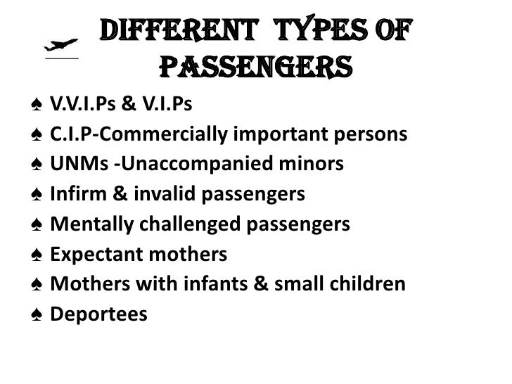 Different types of             passengers♠   V.V.I.Ps & V.I.Ps♠   C.I.P-Commercially important persons♠   UNMs -Unaccompan...