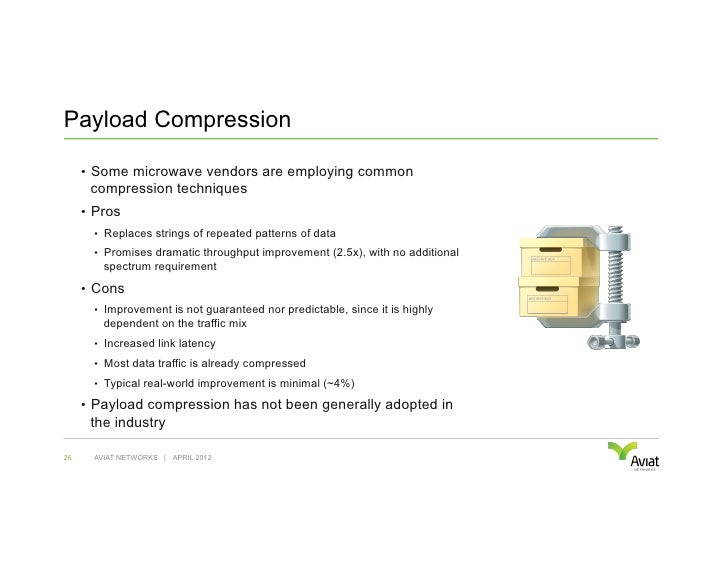 Payload Compression     • Some microwave vendors are employing common      compression techniques     • Pros       • Re...