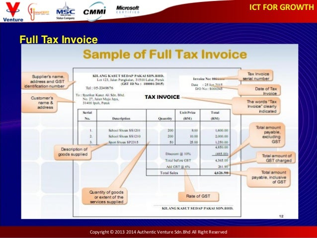 ict for growth - gst slides, Invoice templates