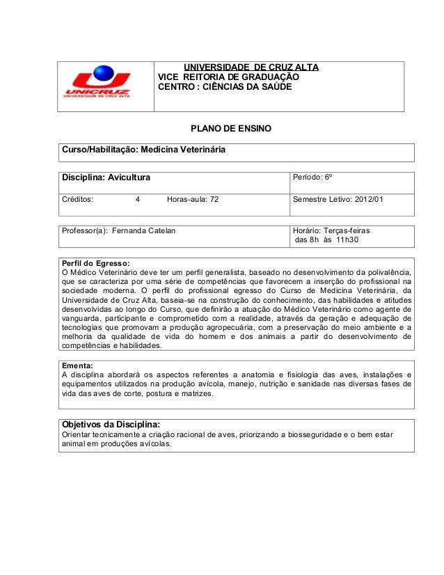 UNIVERSIDADE DE CRUZ ALTA                          VICE REITORIA DE GRADUAÇÃO                          CENTRO : CIÊNCIAS D...