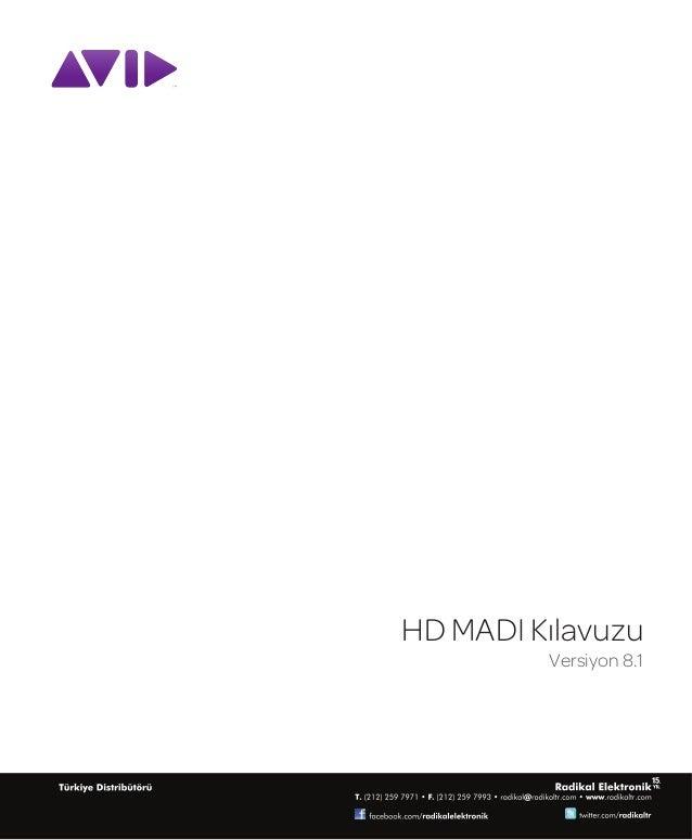 HD MADI Kılavuzu         Versiyon 8.1