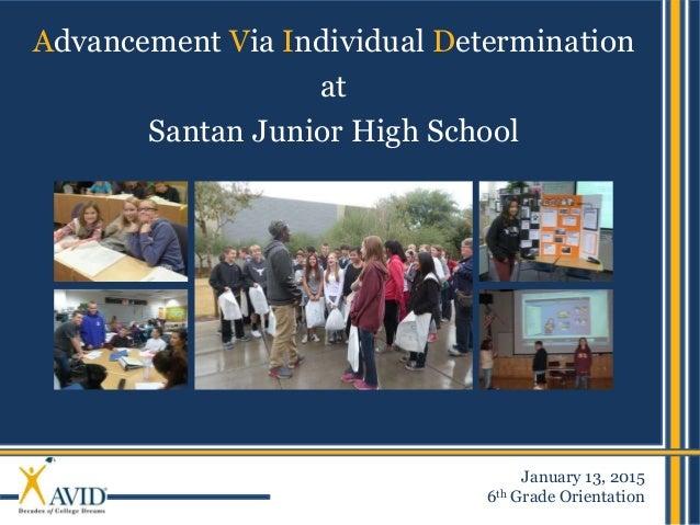 Advancement Via Individual Determination at Santan Junior High School January 13, 2015 6th Grade Orientation