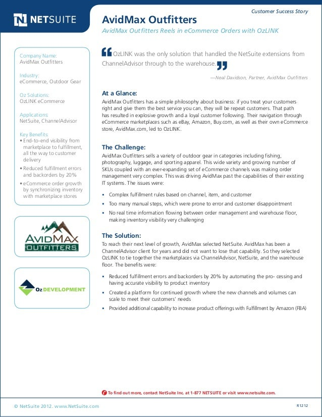 Customer Success Story © NetSuite 2012. www.NetSuite.com R1212 AvidMax Outfitters AvidMax Outfitters Reels in eCommerce Or...