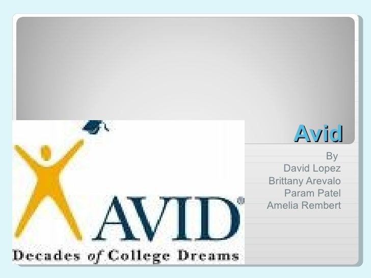 Avid By  David Lopez Brittany Arevalo Param Patel Amelia Rembert