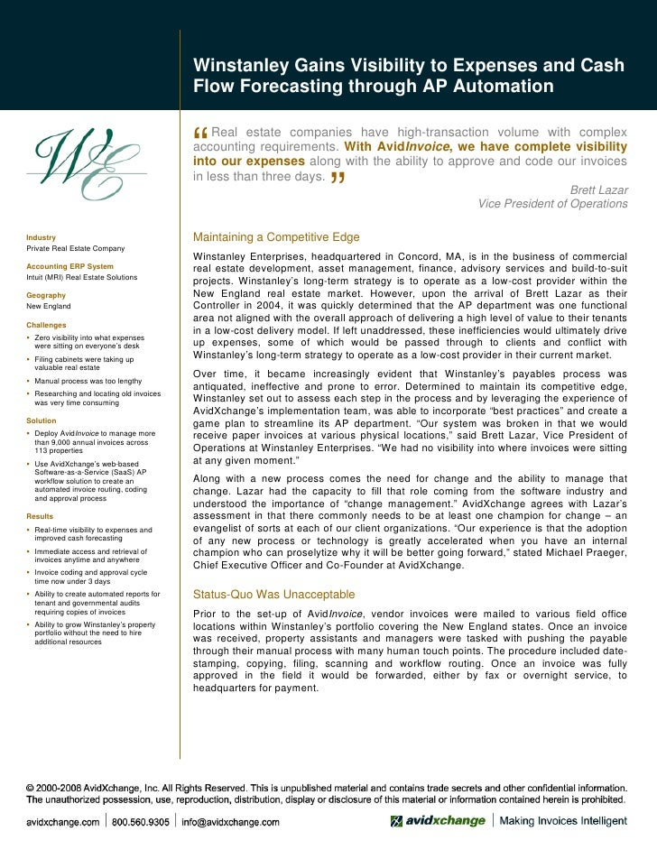 Winstanley Gains Visibility to Expenses and Cash                                             Flow Forecasting through AP A...