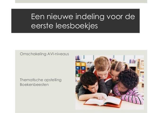 Een nieuwe indeling voor de eerste leesboekjes Omschakeling AVI-niveaus Thematische opstelling Boekenbeesten