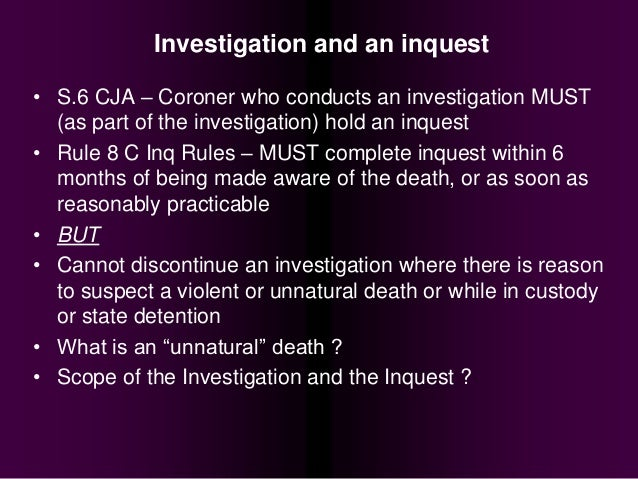 Death Investigation and the Coroner's Inquest