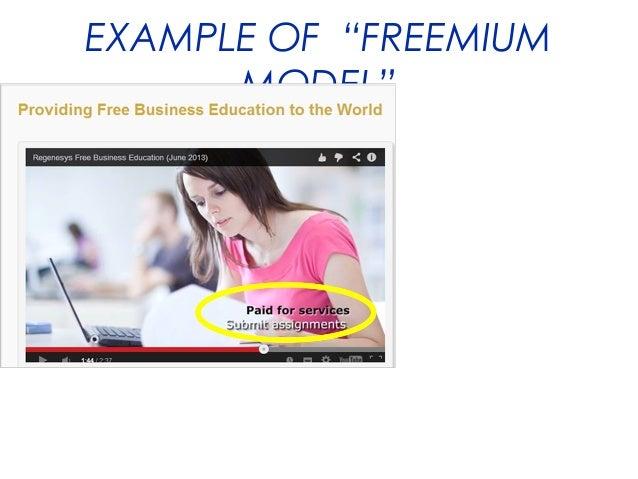 """EXAMPLE OF """"FREEMIUM MODEL"""""""