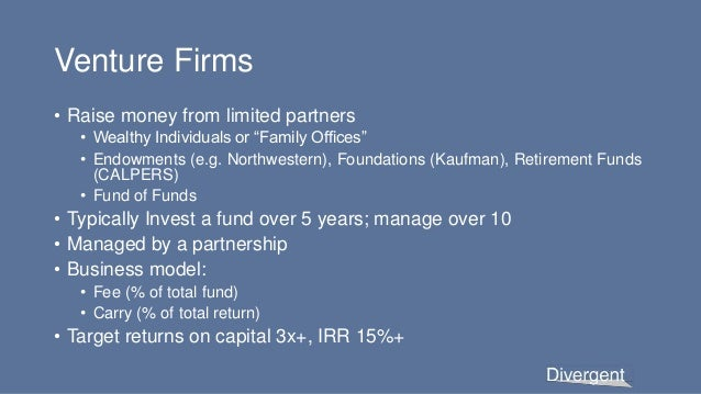 """Venture Firms • Raise money from limited partners • Wealthy Individuals or """"Family Offices"""" • Endowments (e.g. Northwester..."""