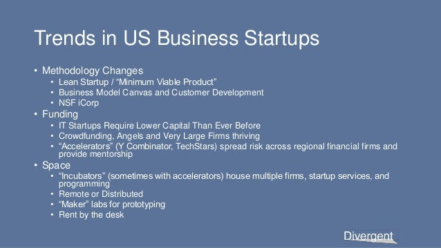 """Trends in US Business Startups • Methodology Changes • Lean Startup / """"Minimum Viable Product"""" • Business Model Canvas and..."""