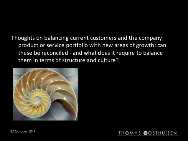 27 October 2011 Thoughts on balancing current customers and the company product or service portfolio with new areas of gro...
