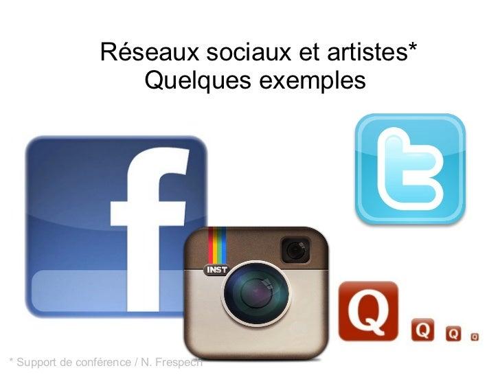 Réseaux sociaux et artistes*                    Quelques exemples* Support de conférence / N. Frespech