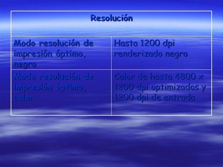 Resolución Modo resolución de impresión óptimo, negro Hasta 1200 dpi renderizado negro Modo resolución de impresión óptimo...