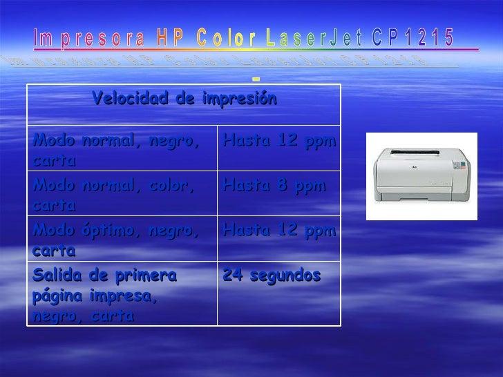 Velocidad de impresión Modo normal, negro, carta  Hasta 12 ppm  Modo normal, color, carta  Hasta 8 ppm  Modo óptimo, neg...