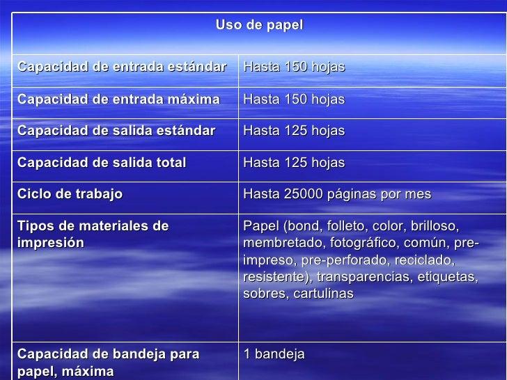 Uso de papel Capacidad de entrada estándar Hasta 150 hojas Capacidad de entrada máxima Hasta 150 hojas Capacidad de salida...