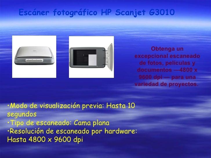 Escáner fotográfico HP Scanjet G3010 Obtenga un excepcional escaneado de fotos, películas y documentos —4800 x 9600 dpi — ...