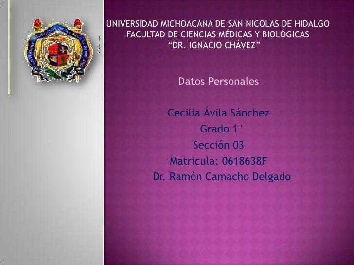 UNIVERSIDAD MICHOACANA DE SAN NICOLAS DE HIDALGO<br />                             FACULTAD D...