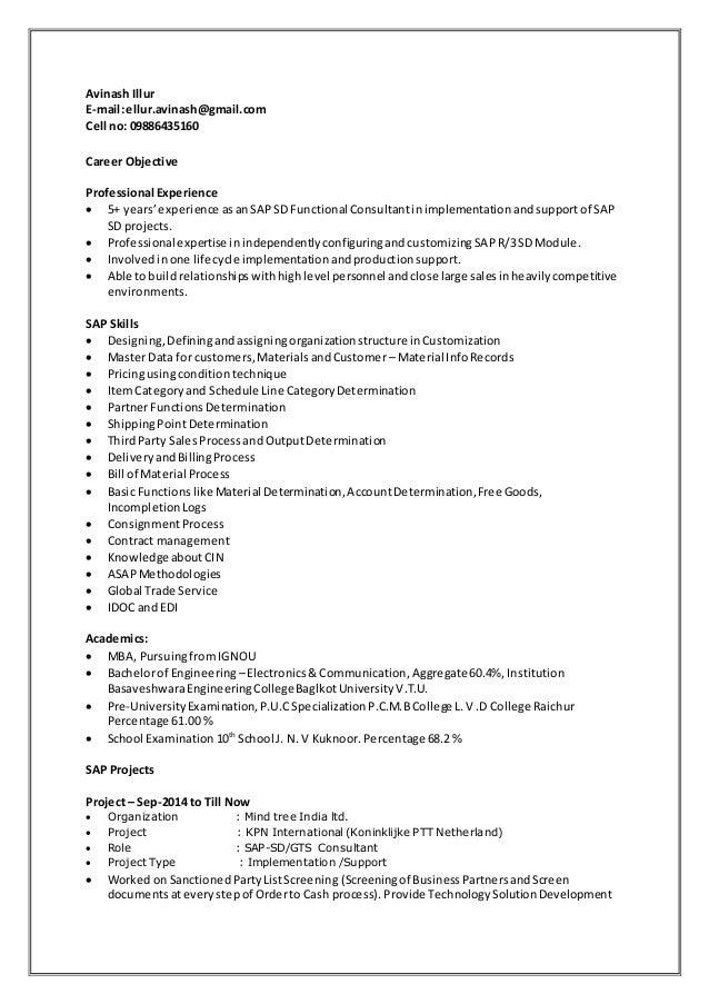Avinash Illur E-mail:ellur.avinash@gmail.com Cell no: 09886435160 Career Objective Professional Experience  5+ years'expe...
