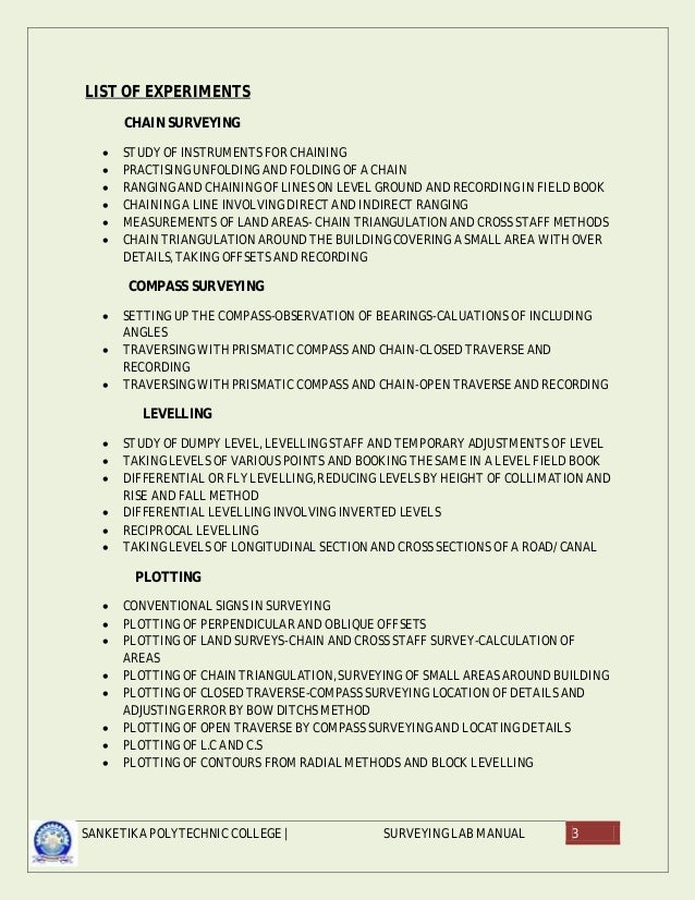 avinesh surveying lab manuals rh slideshare net surveying lab manual 3rd sem vtu Lab Manual Fossils