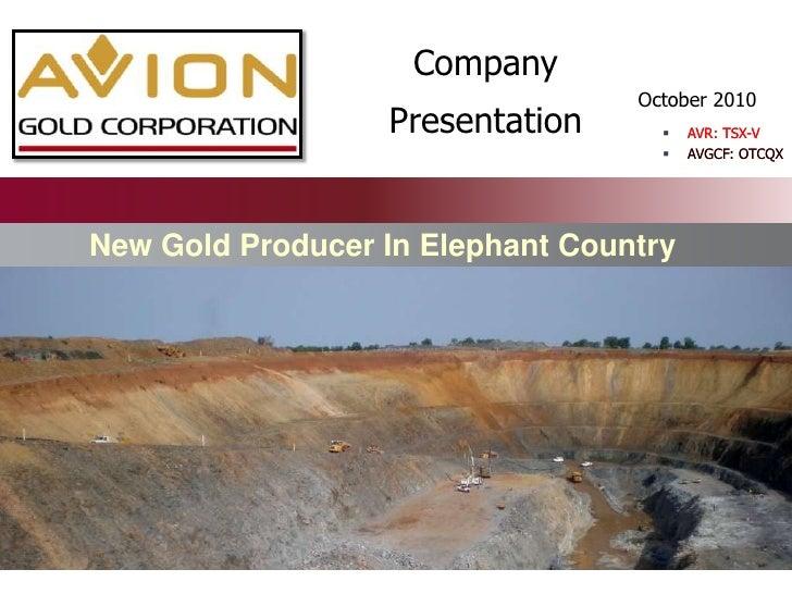 Company Presentation<br />AVR: TSX-V<br />AVGCF: OTCQX<br />