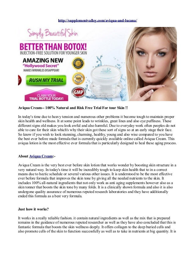 Aviqua Cream 100 Natural And Risk Free Trial For Tour Skin