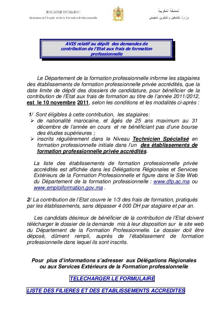 AVIS relatif au dépôt des demandes de               contribution de l'Etat aux frais de formation                         ...