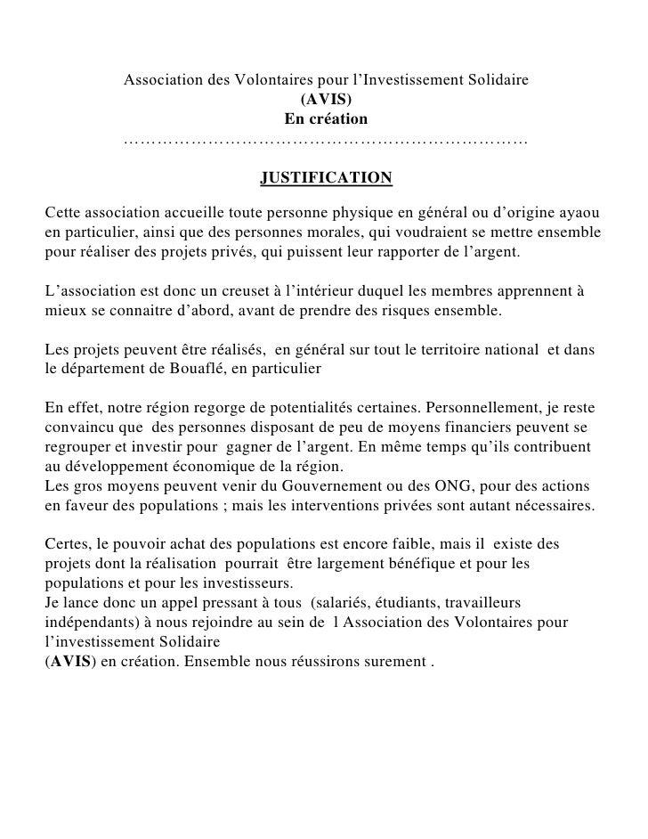 Association des Volontaires pour l'Investissement Solidaire                                     (AVIS)                    ...