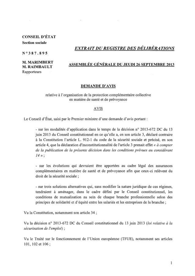 Avis conseil etat sur decision du 13 juin 2013