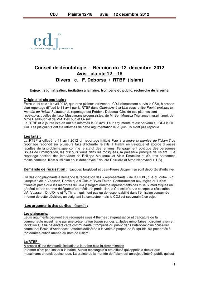 CDJ         Plainte 12-18        avis      12 décembre 2012                                                           C...