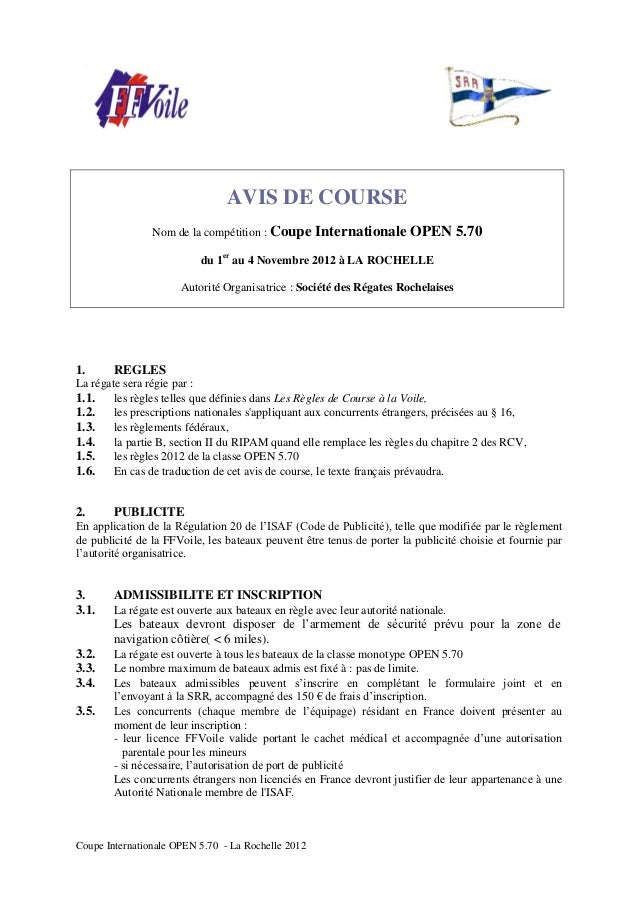 AVIS DE COURSE                Nom de la compétition : Coupe       Internationale OPEN 5.70                          du 1er...
