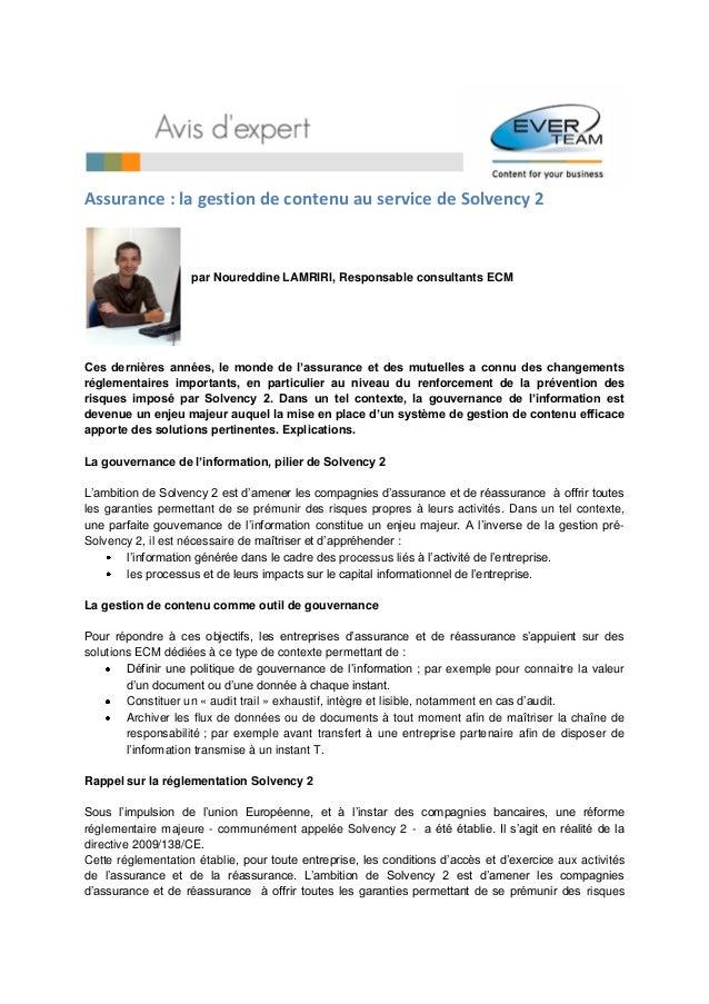 Assurance : la gestion de contenu au service de Solvency 2                    par Noureddine LAMRIRI, Responsable consulta...