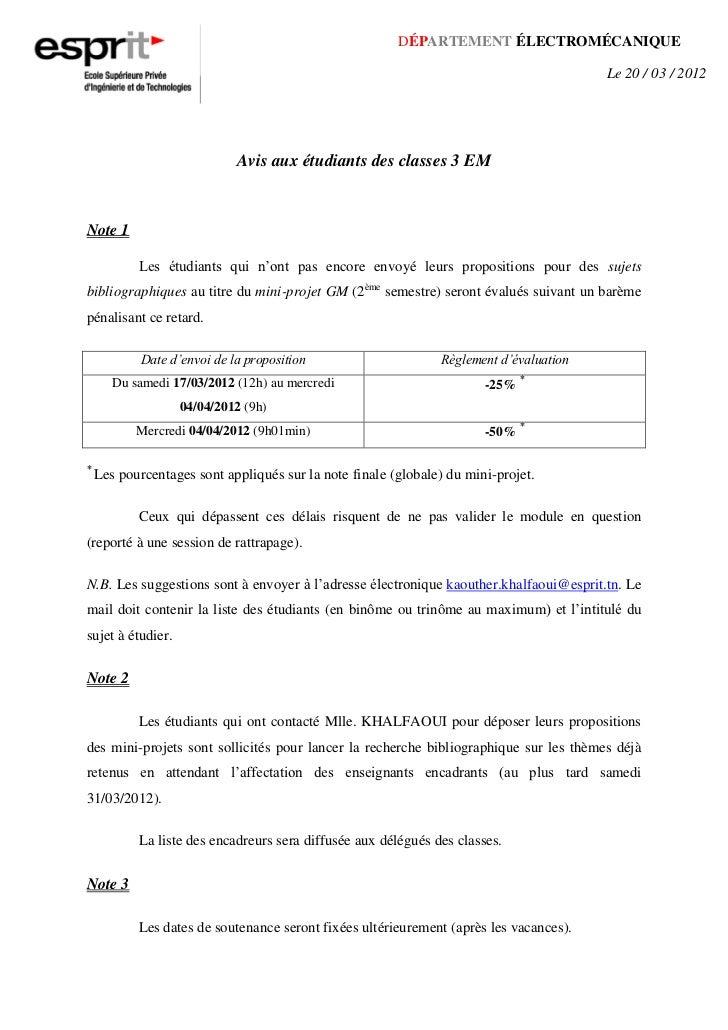 DÉPARTEMENT ÉLECTROMÉCANIQUE                                                                                        Le 20 ...