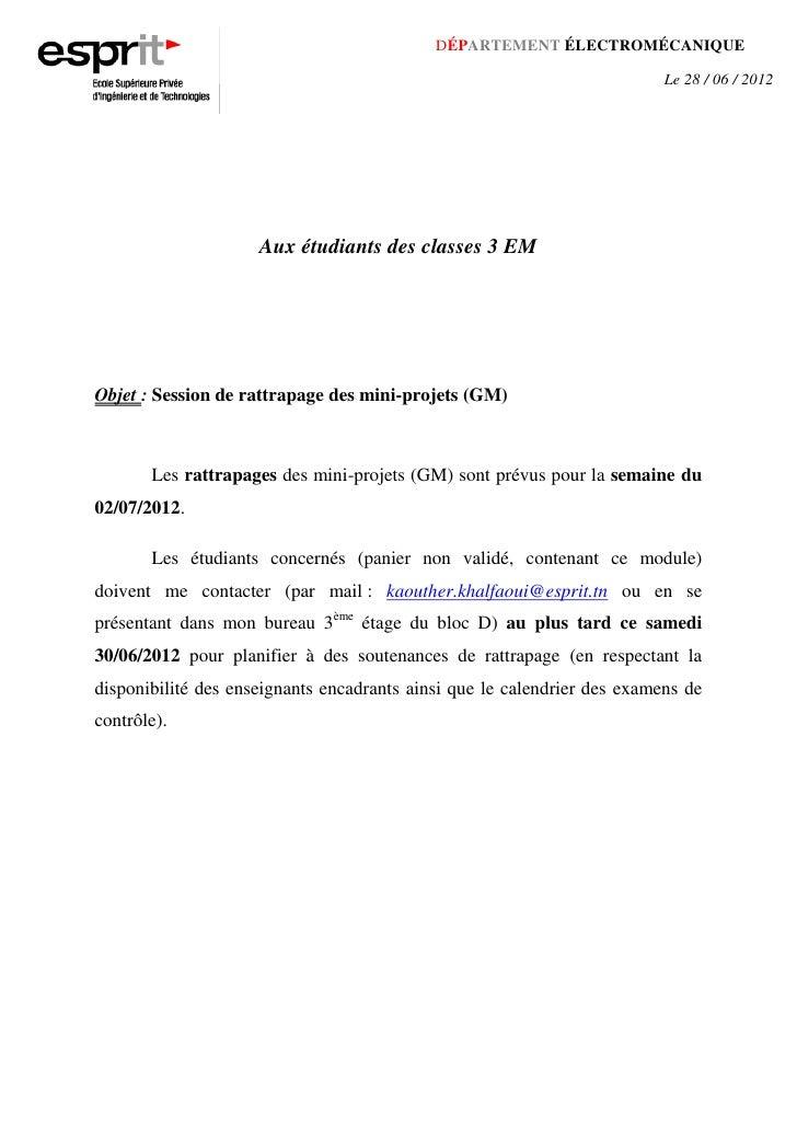 DÉPARTEMENT ÉLECTROMÉCANIQUE                                                                          Le 28 / 06 / 2012   ...