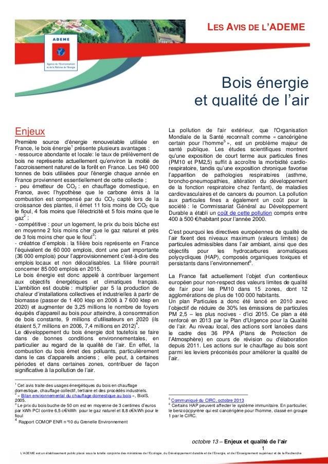 LES AVIS DE L'ADEME  Bois énergie et qualité de l'air Enjeux Première source d'énergie renouvelable utilisée en France, le...