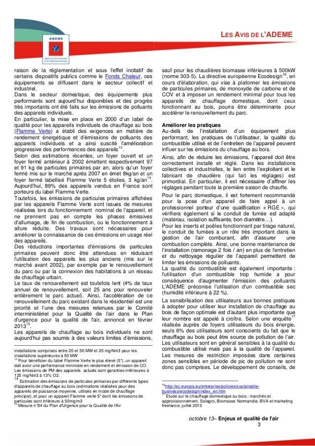 LES AVIS DE L'ADEME  raison de la réglementation et sous l'effet incitatif de certains dispositifs publics comme le Fonds ...
