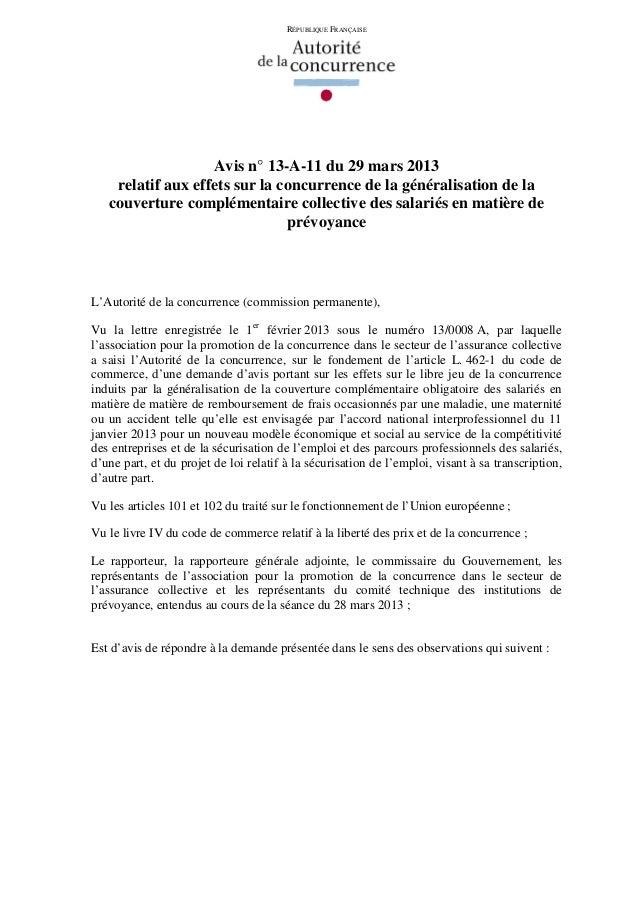 RÉPUBLIQUE FRANÇAISE                   Avis n° 13-A-11 du 29 mars 2013    relatif aux effets sur la concurrence de la géné...