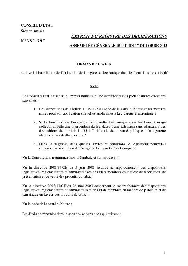 CONSEIL D'ÉTAT Section sociale EXTRAIT DU REGISTRE DES DÉLIBÉRATIONS N ° 3 8 7 . 7 9 7 ASSEMBLÉE GÉNÉRALE DU JEUDI 17 OCTO...