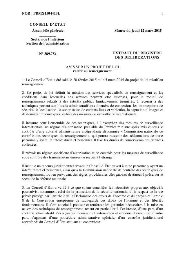 NOR : PRMX1504410L 1 CONSEIL D'ÉTAT Assemblée générale _________ Séance du jeudi 12 mars 2015 Section de l'intérieur Secti...