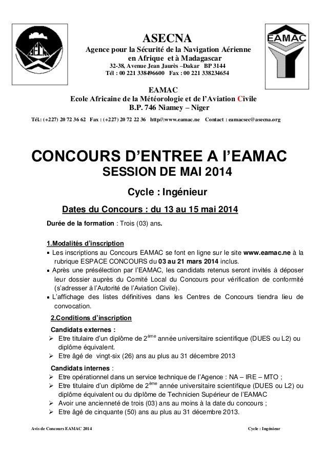 ASECNA Agence pour la Sécurité de la Navigation Aérienne en Afrique et à Madagascar 32-38, Avenue Jean Jaurès –Dakar BP 31...
