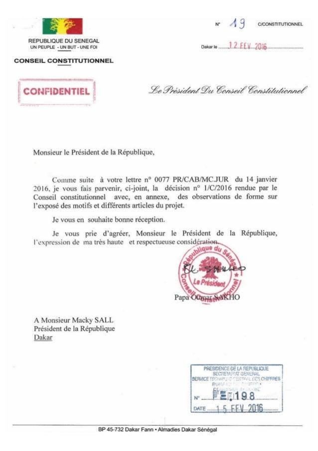 Avis Conseil Constitutionnel Sénégal (février 2016)