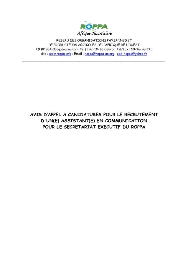 Afrique NourricièreAfrique NourricièreAfrique NourricièreAfrique Nourricière RESEAU DES ORGANISATIONS PAYSANNES ET DE PROD...